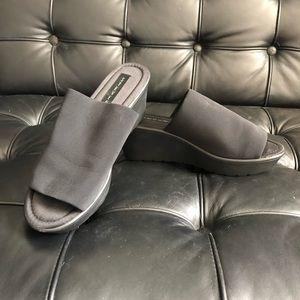 steven by steve madden black slide platforms comfy